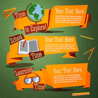 Set of cute back to school banners with globe, text book, glasses.