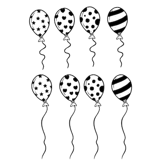 Set of cute balloon using doodle art or hand drawing style