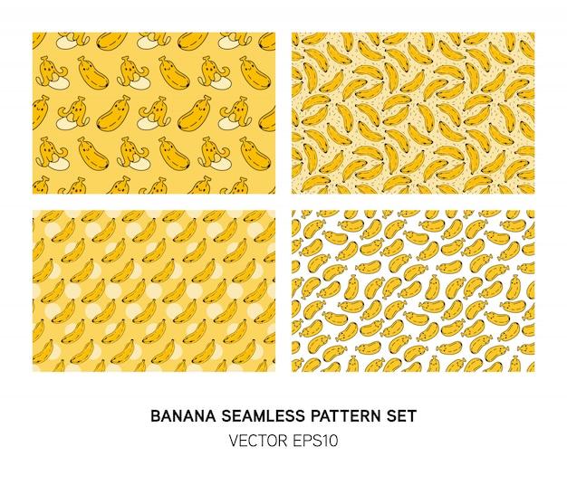 Set of cute banana seamless pattern