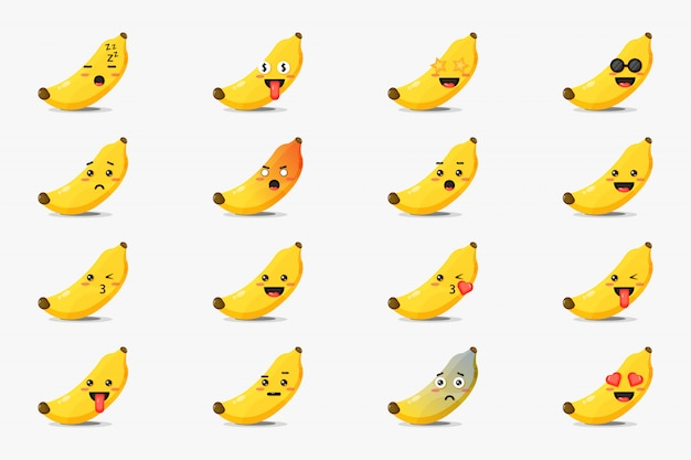 Set of cute banana with emoticons