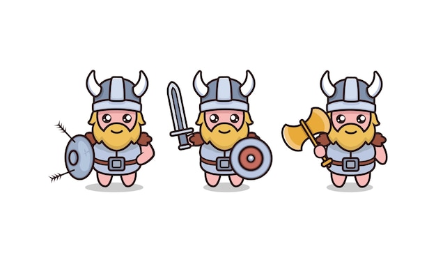 Set of cute barbarian viking mascot design illustration with white background