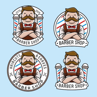 Set of cute barber shop logo template