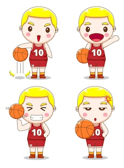 Set of cute basketball player with different style