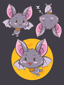 Set of cute bat cartoon character illustration - happy halloween