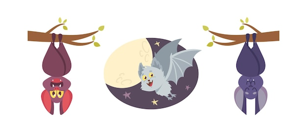 Set cute bats, vampire comic animals, halloween characters, cartoon funny personages with smiling muzzle hang upside down or flying isolated on white background. vector illustration icons collection