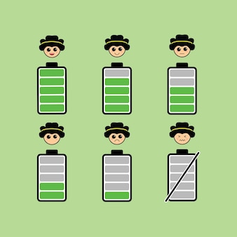 Set of cute battery isolated on green background