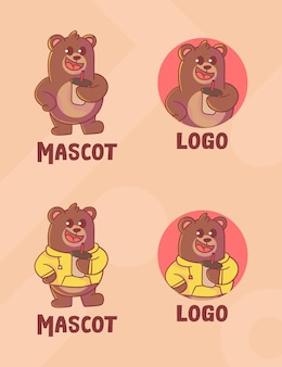 Set of cute bear coffee mascot logo with optional appearance.