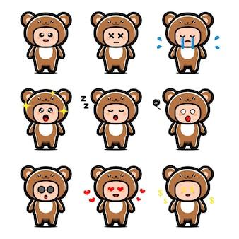 Set of cute bear costume cartoon character