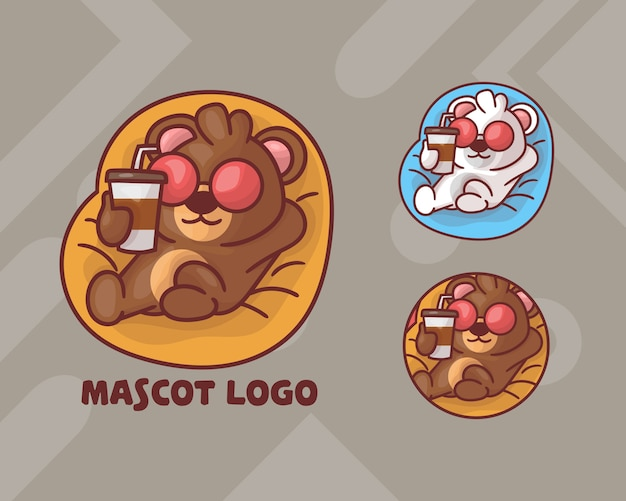 Set of cute bear drinking coffee mascot logo with optional appearance.