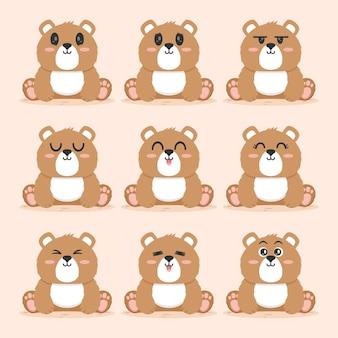 Set of cute bear flat design illustration