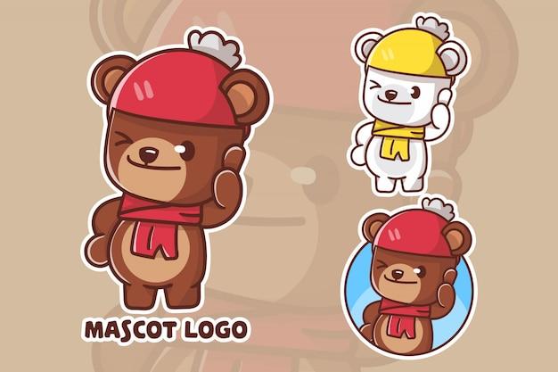 Set of cute bear mascot logo
