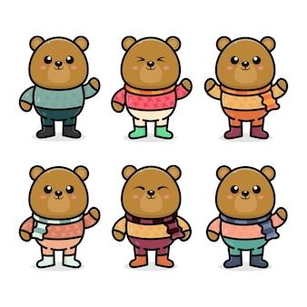Установить милый медведь с осенней концепцией иллюстрации