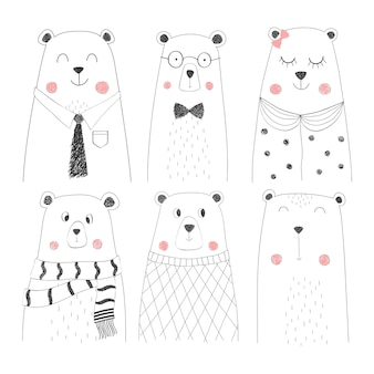 Set of cute bear