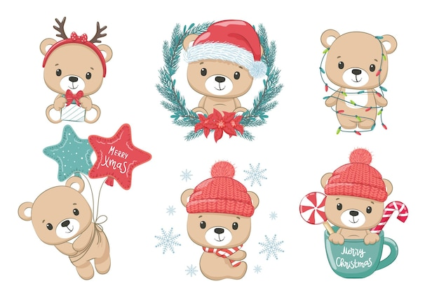 A set of cute bears for the new year and for christmas. vector illustration of a cartoon. merry christmas.