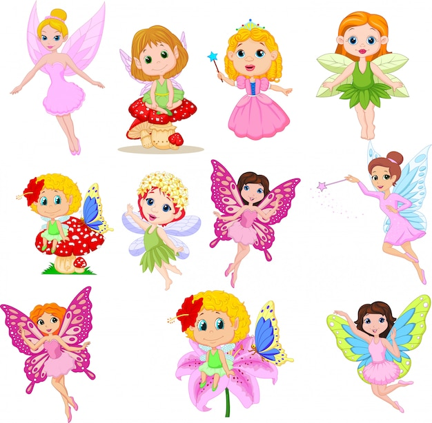 Set of cute beautiful fairies cartoon isolated
