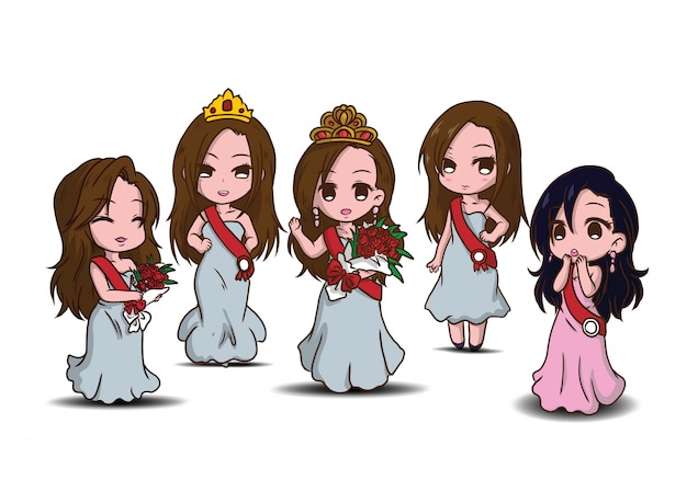 Set cute beauty pageant cartoon character.