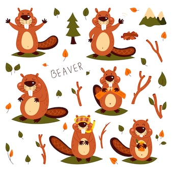 Set of cute beavers. sticker. children's, funny. cartoon comic book style  illustration of forest wild animals.