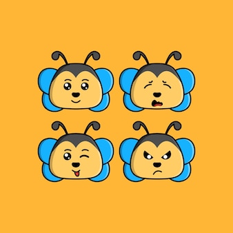 Set cute bee cartoon head character with different expression vector illustration