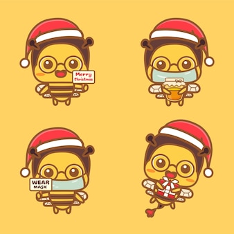 Set of cute bee character celebrating christmas new normal concept wear mask and hold honey.