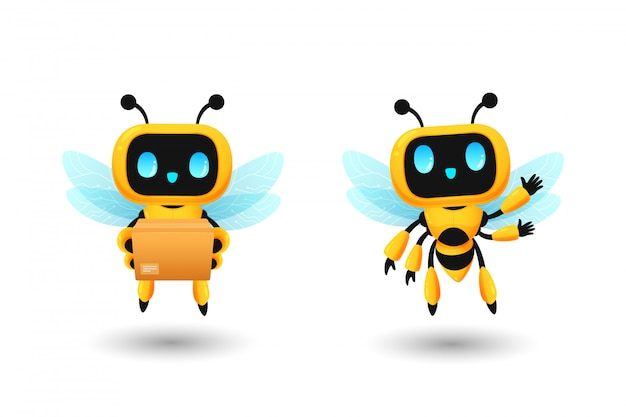 Set of cute bee robot ai character in delivery and greeting pose