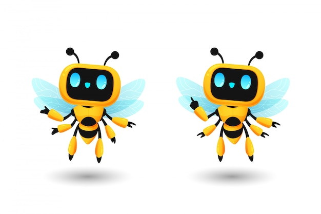 Set of cute bee robot ai character in present and pointing pose