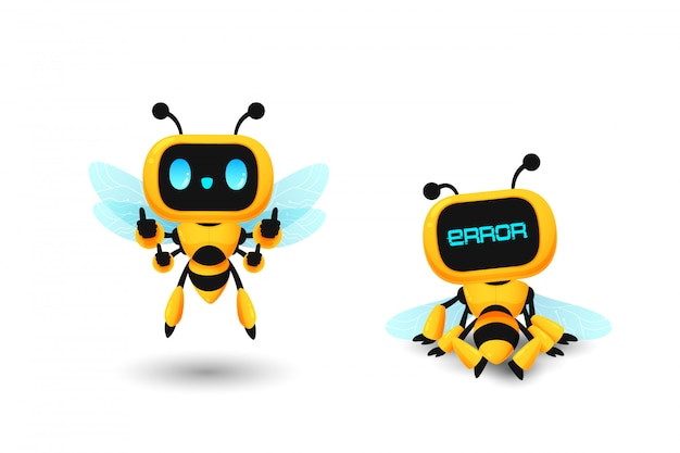 Set of cute bee robot ai character in show thumb up and error pose