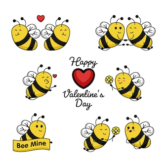 Set of cute bee valentine's day