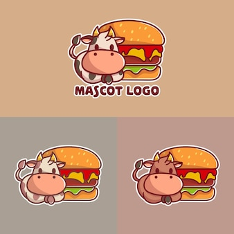 Set of cute beef burger with cow mascot logo with optional apprearance.