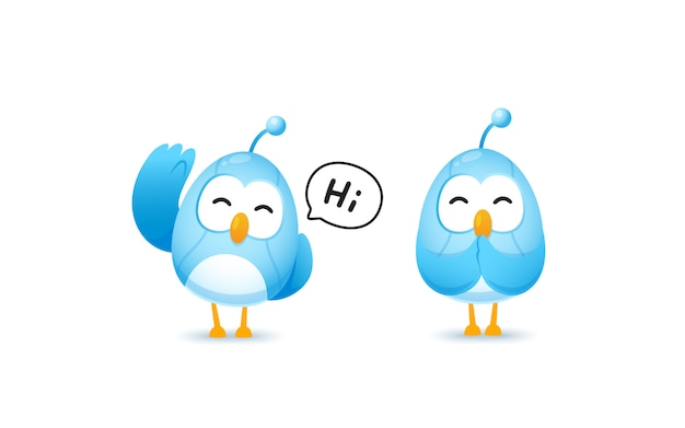 Set of cute bird robot character in greeting and pay resperct pose