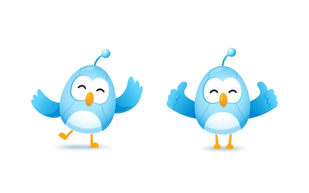Set of cute bird robot character in happy and show thumb up pose