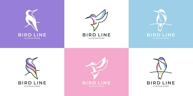 Set of cute bird with line art style logo design collection