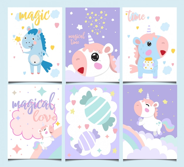Set of cute birthday cards.