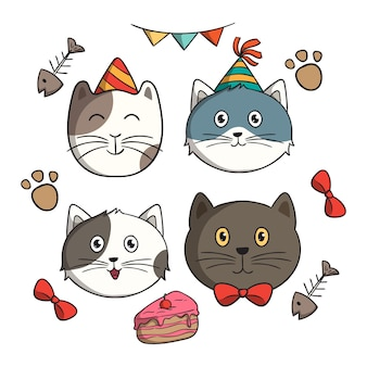 Set of cute birthday cat with doodle style