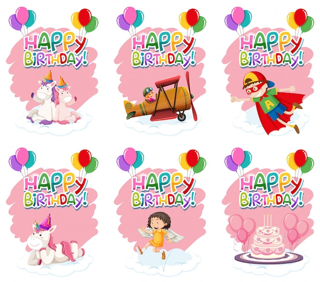 Set of cute birthday icon