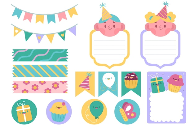 Set of cute birthday scrapbook elements