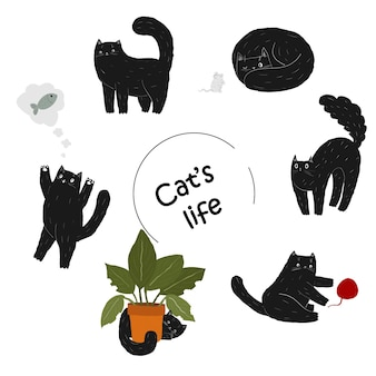 Set of cute black doodle cartoon cat cat is hiding behind plant  scary kitten arches its back