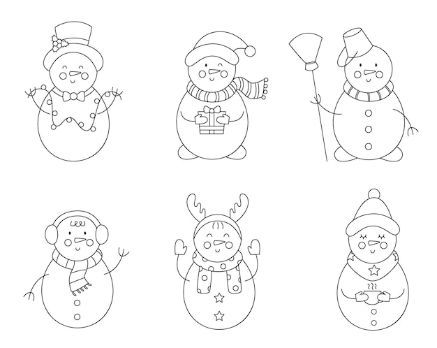 Set of cute black and white snowmen. coloring page for kids.