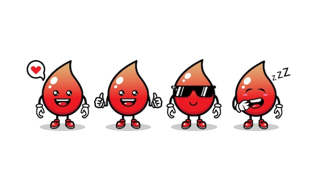 Set of cute blood mascot design icon illustration vector template