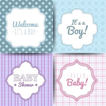 A set of cute blue and pink templates for invitations