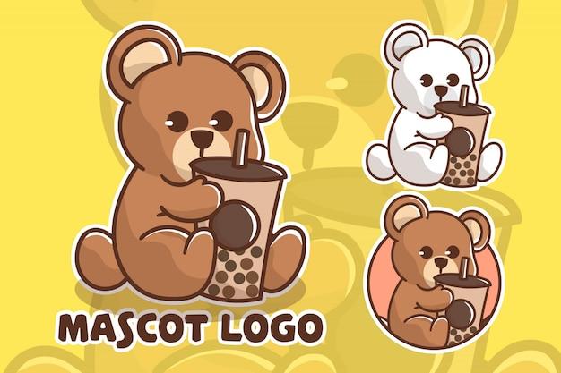 Set of cute boba bear mascot logo
