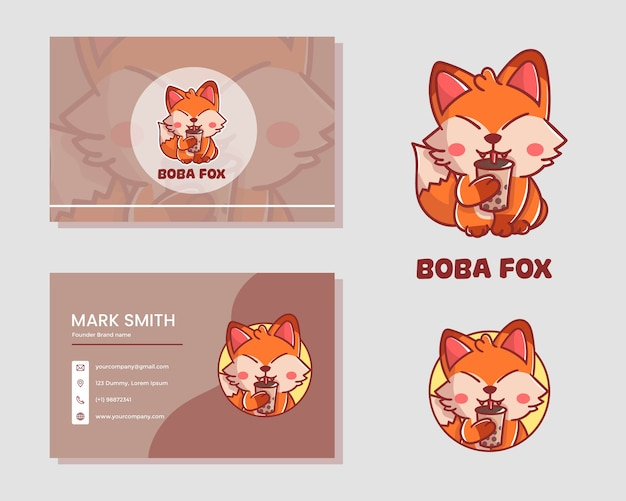 Set of cute boba fox mascot logo with card name. premium kawaii vector