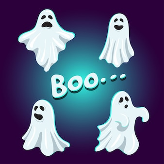 Set of cute boo ghost character