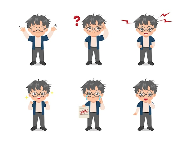 Set of cute boy avatar expressions. flat  cartoon design.