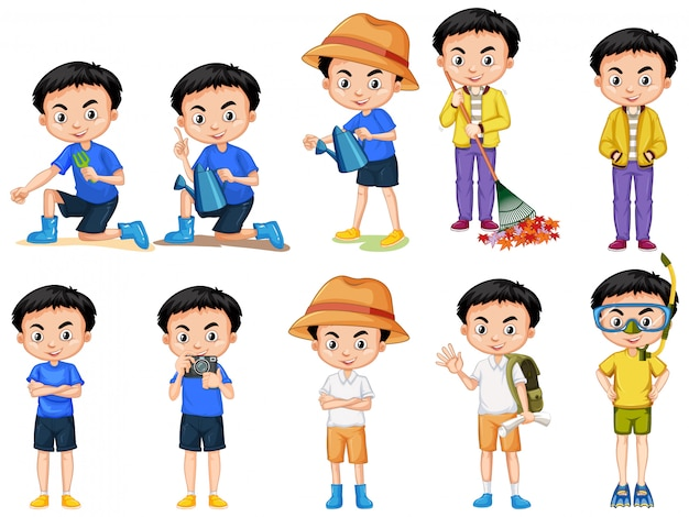 Set of cute boy doing different actions