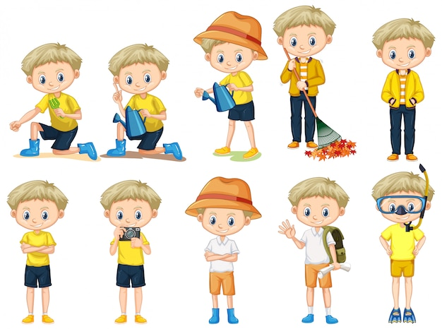 Set of cute boy doing different activities on white background
