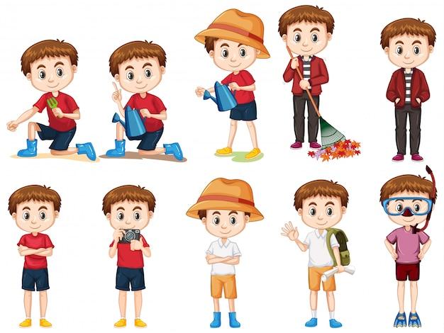 Set of cute boy doing different activities