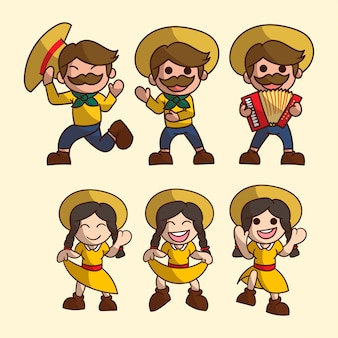Set of cute boy and girl character for festa junina