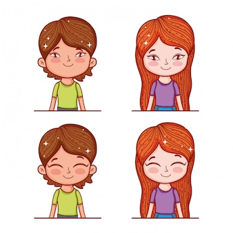Set cute boy and girl with hairstyle and blouse