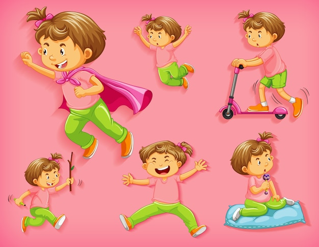 Set of cute boy with different positions isolated