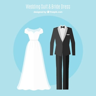 Set of cute brid dress and elegant wedding suit in flat design